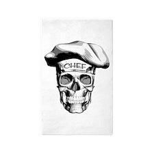 white Chef Skull 3'x5' Area Rug
