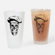 white Chef Skull Drinking Glass