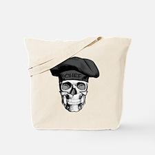 Black Chef Skull Tote Bag