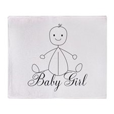 baby Girl Stick drawing Throw Blanket