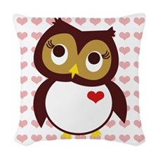 Whoo Loves You w/ Hearts Woven Throw Pillow