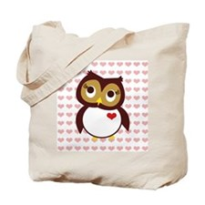 Whoo Loves You w/ Hearts Tote Bag