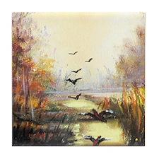 Autumn hunting pastel Tile Coaster