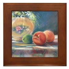 Peaches and flowers pastel Framed Tile