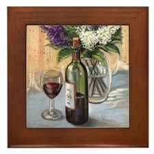 Glass of wine and lilac Framed Tile