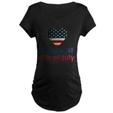 Babys 1st 4th of July Maternity T-Shirt