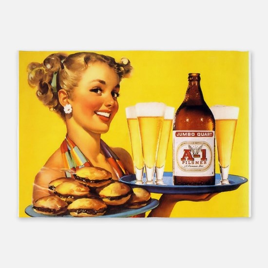 Pin Up Girl, Beer, Burgers, Retro Vintage 5'x7'Are