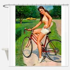 Pin Up Girl, Bicycle, Retro Vintage Shower Curtain