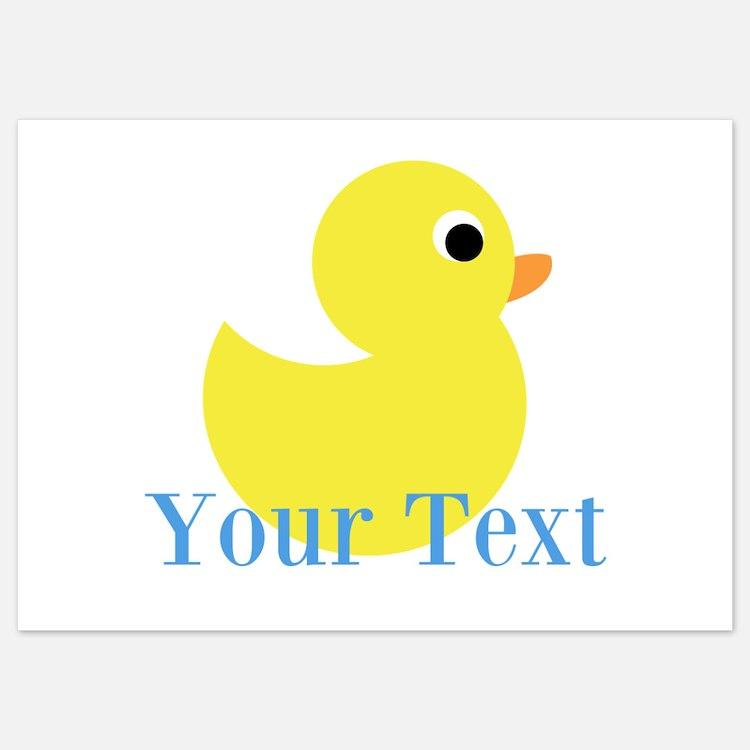 Personalizable Yellow Duck Blue Invitations