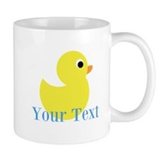 Personalizable Yellow Duck Blue Mugs