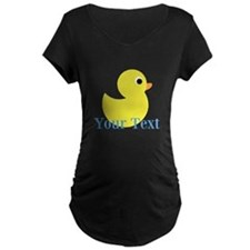 Personalizable Yellow Duck Blue Maternity T-Shirt
