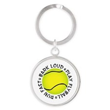 Run Fast Bark Loud Round Keychain