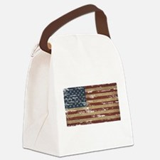 Vintage Distressed American Flag Canvas Lunch Bag