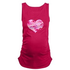 Pink Camo Heart Maternity Tank Top