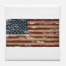 Vintage Distressed American Flag Tile Coaster