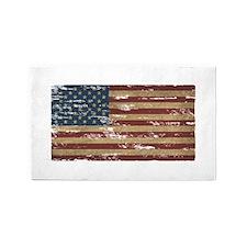 Vintage Distressed American Flag 3'x5' Area Rug