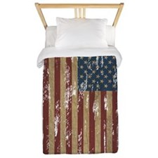 Vintage Distressed American Flag Twin Duvet