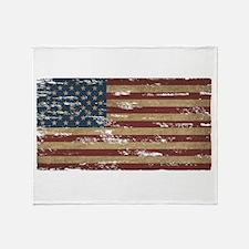 Vintage Distressed American Flag Throw Blanket