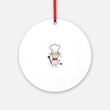 Little Chef Girl Ornament (Round)
