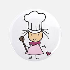 "Little Chef Girl 3.5"" Button"