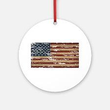Vintage Distressed American Flag Ornament (Round)