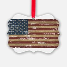 Vintage Distressed American Flag Ornament