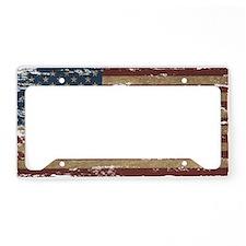 Vintage Distressed American Flag License Plate Hol
