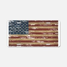 Vintage Distressed American Flag Aluminum License