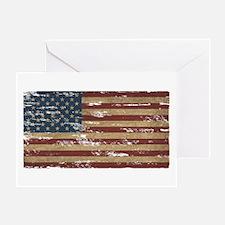 Vintage Distressed American Flag Greeting Cards