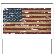 Vintage Distressed American Flag Yard Sign