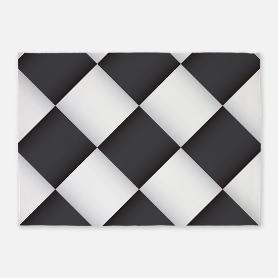 Chess Board Pattern 5'x7'Area Rug