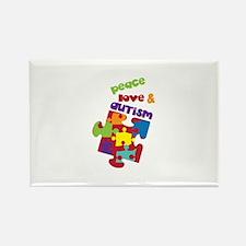 Peace love autism Magnets