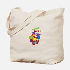 Peace love autism Tote Bag