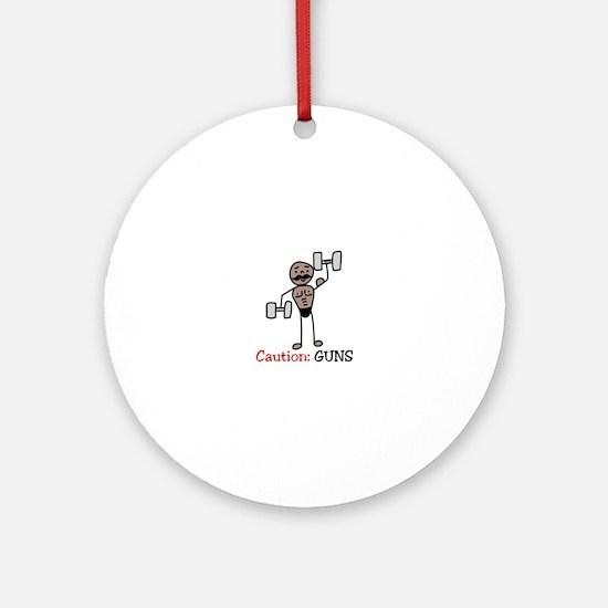 Caution: GUNS Ornament (Round)