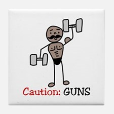 Caution: GUNS Tile Coaster