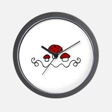 Red Mushrooms Wall Clock