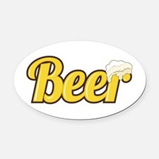 Beer Oval Car Magnet