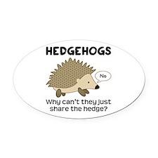 Hedgehog Pun Oval Car Magnet