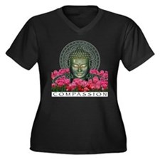 Garden Buddha Women's Plus Size V-Neck Dark T-Shir
