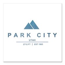 "Park City Ski Resort Utah Square Car Magnet 3"" x 3"