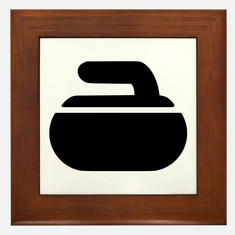 Curling stone symbol Framed Tile