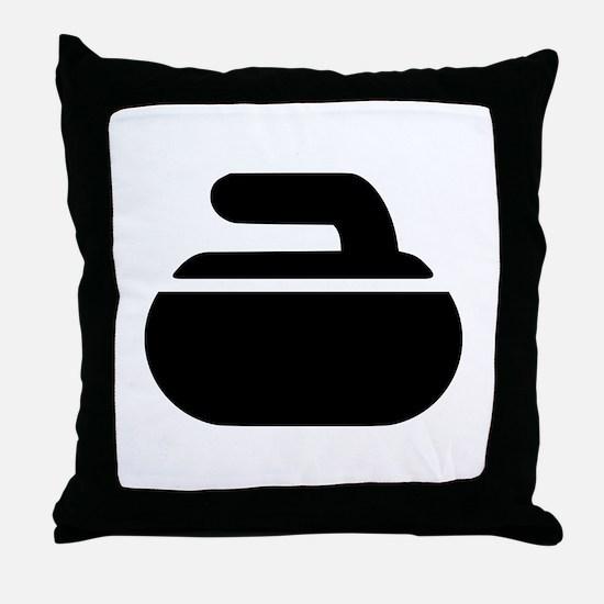 Curling stone symbol Throw Pillow