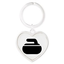 Curling stone symbol Heart Keychain