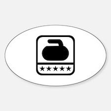 Curling stone stars Sticker (Oval)