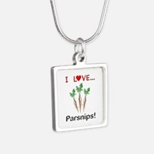 I Love Parsnips Silver Square Necklace