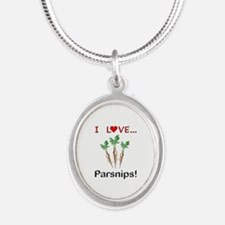 I Love Parsnips Silver Oval Necklace