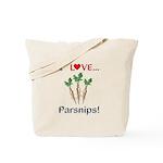 I Love Parsnips Tote Bag