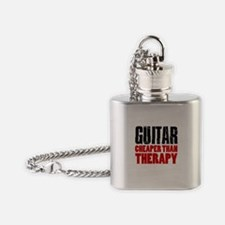 Guitar Cheaper Than Therapy Flask Necklace