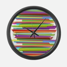 Stripes Shower Curtain Large Wall Clock