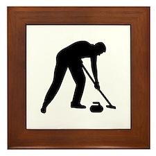 Curling player team Framed Tile